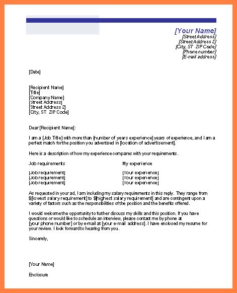 8+ cover letter with salary history and requirements | Life ...