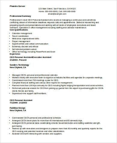 Sample Personal Assistant Resume - 8+ Examples in Word, PDF