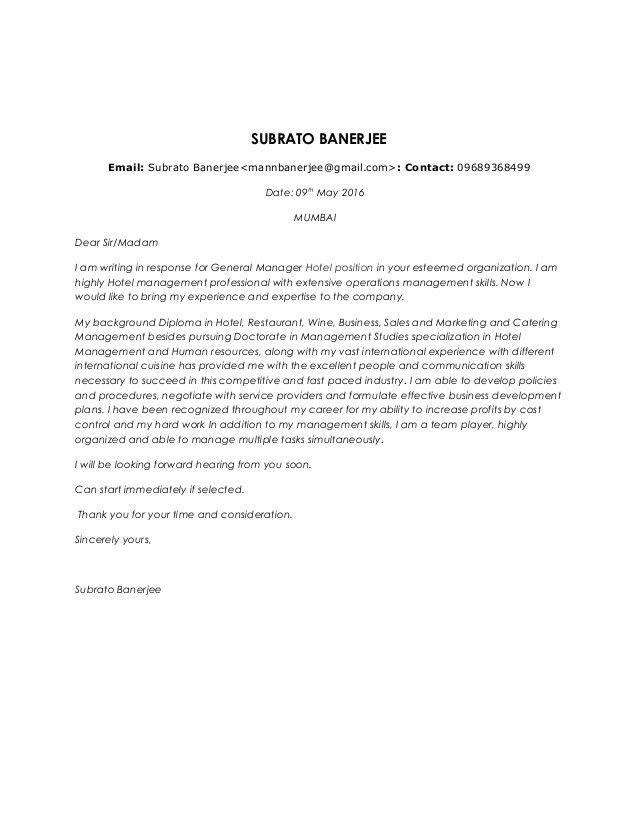 Subrato banerjee gm cover letter & cv