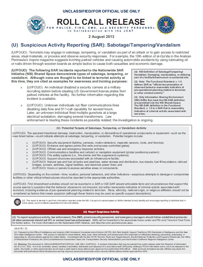 U//FOUO) DHS-FBI Suspicious Activity Reporting Bulletin: Sabotage ...