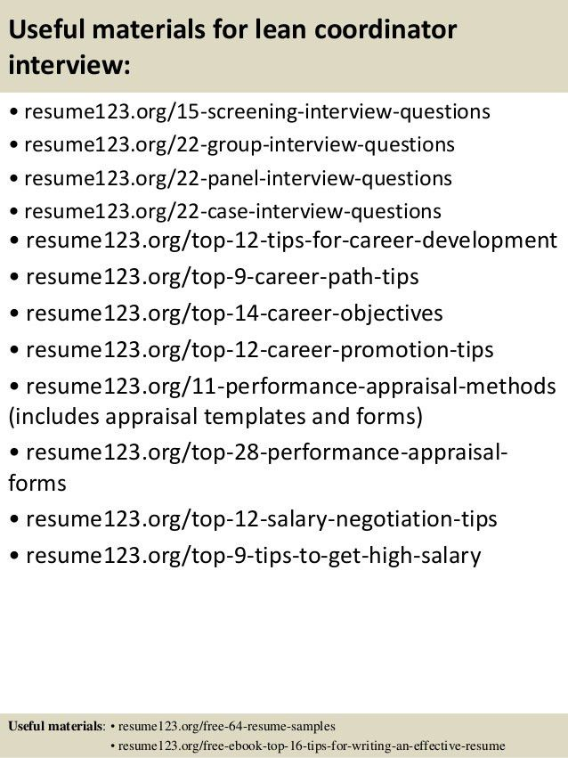 lean coordinator top 8 lean coordinator resume samples top 8