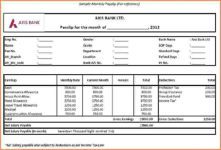 4+ salary slip format in excel | Sales Slip Template