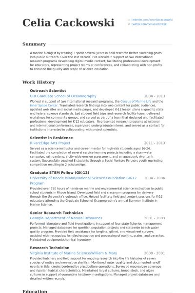 scientific resume examples research assistant resume example