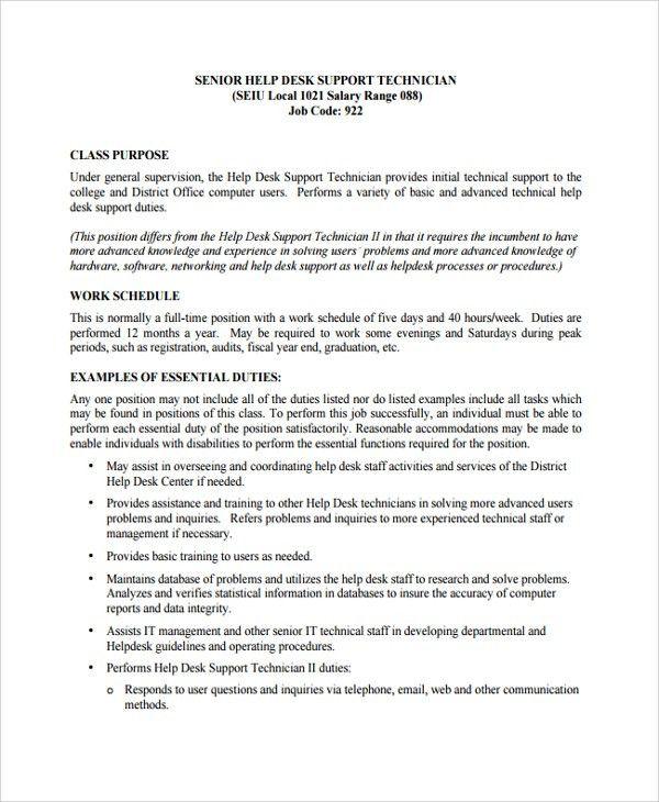 Help Desk Technician Resume Template - 8+ Free Documents Download ...