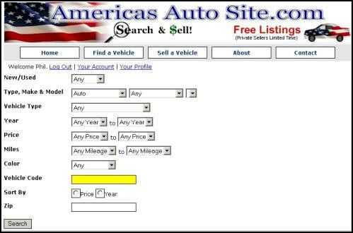 Vehicle Code on Americas Auto Site