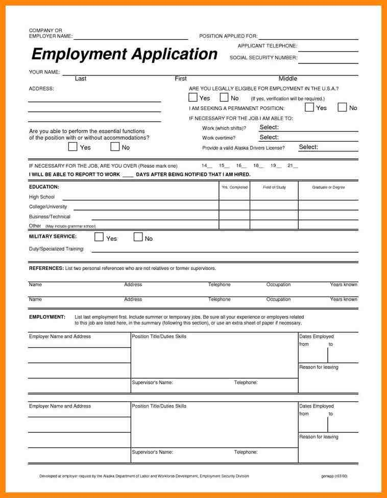 Job Application Printable. Workers As Per Their Convenience Can ...