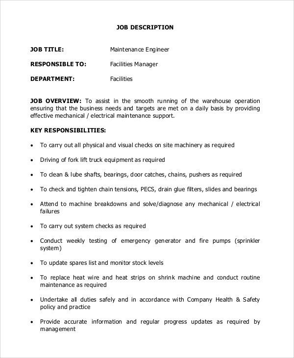 Maintenance Engineer Job Description. Maintenance Worker Resume ...