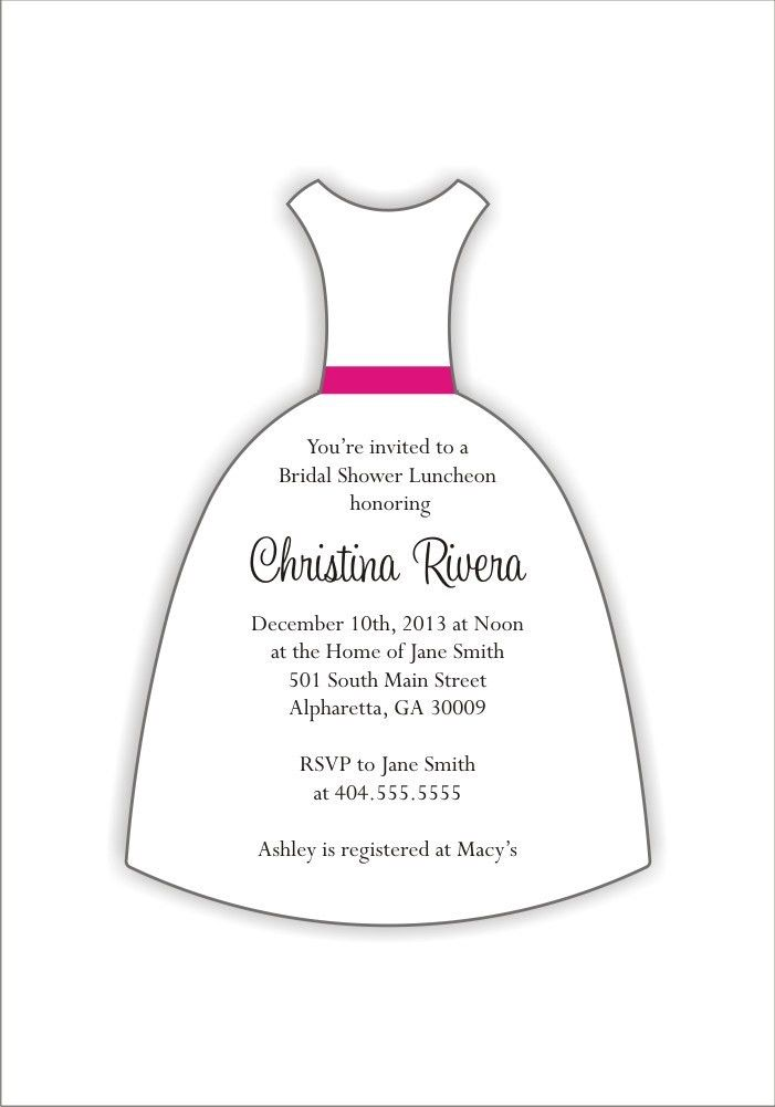 Wedding Dress Die Cut Bridal Shower Invitation Personalized Party ...
