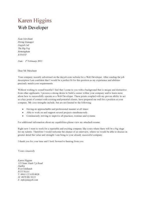 Web Developer Cover Letter Examples   The Letter Sample