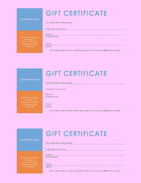 Gift Certificate Template Color Block Template For Word 2013 Or ...