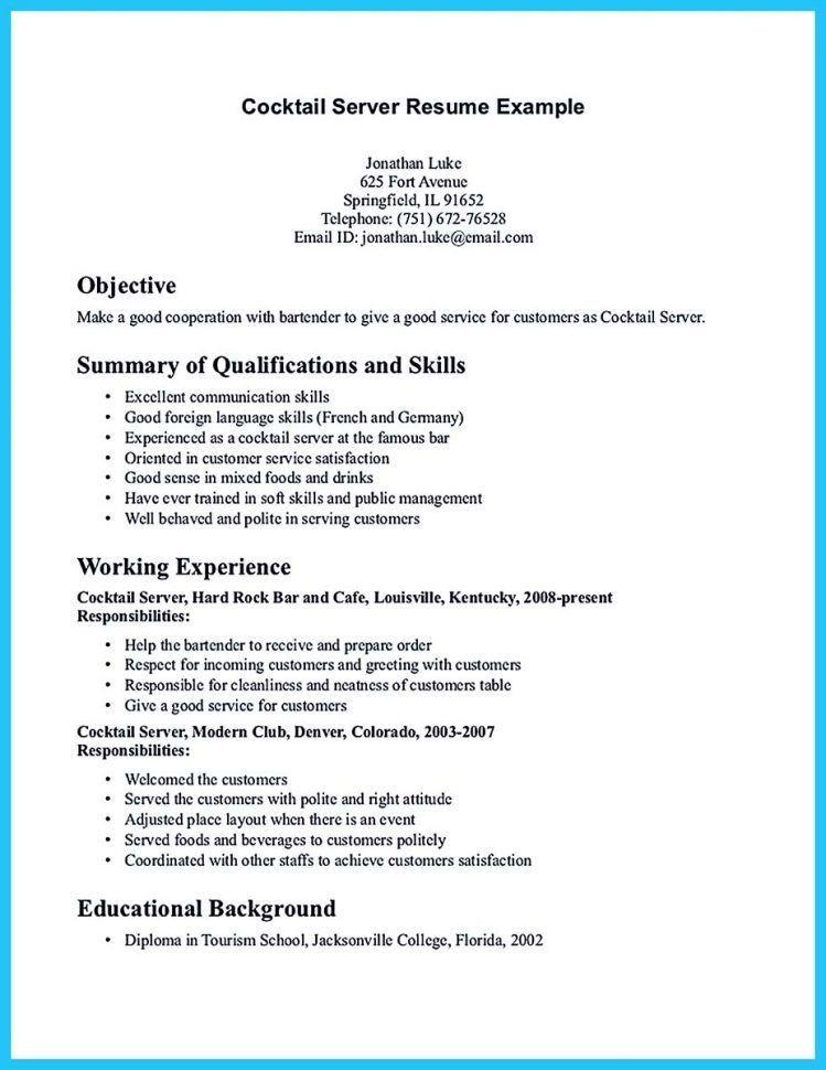 Examples Of Bartending Resumes. Bartender Cover Letter No ...