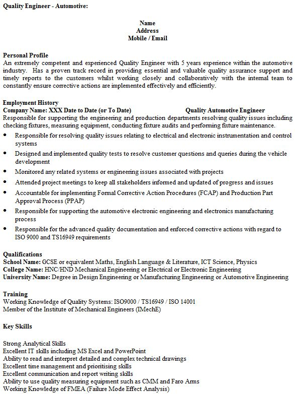 failure analysis resume