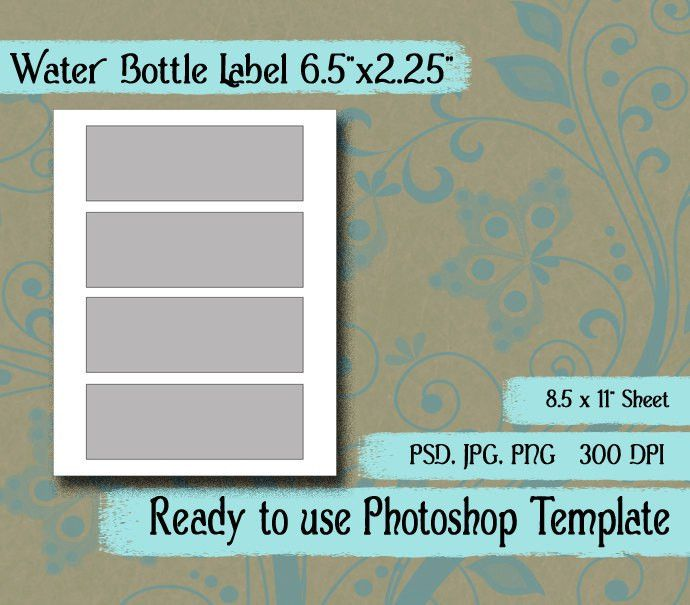 Scrapbook Digital Collage Photoshop Template, Water Bottle Label ...