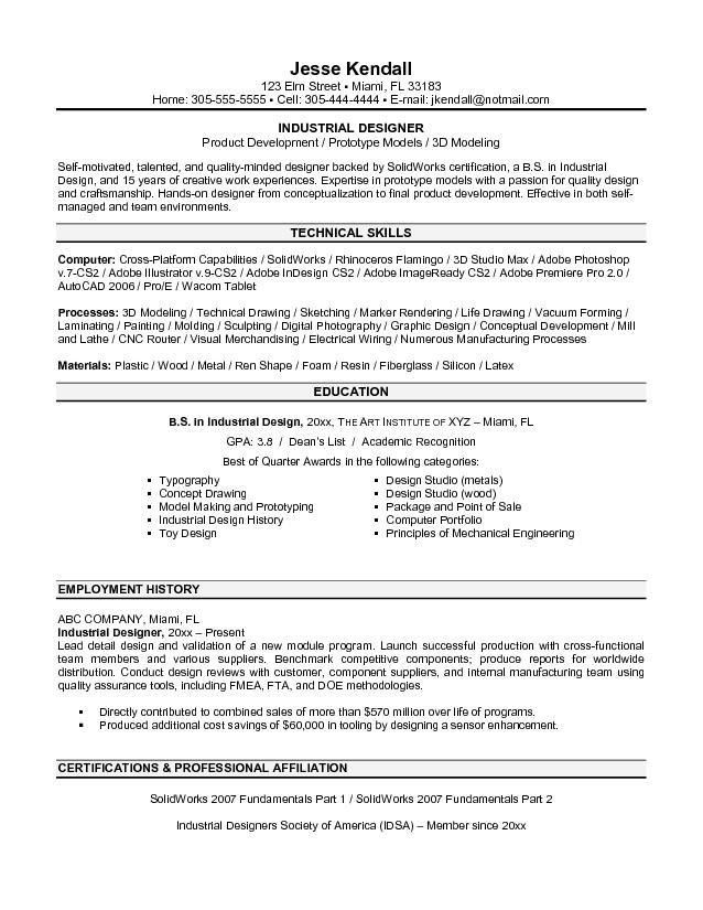 Industrial Design Engineer Sample Resume | haadyaooverbayresort.com
