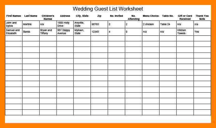 Wedding Guest List. Free Wedding Guest List Template Free Wedding ...