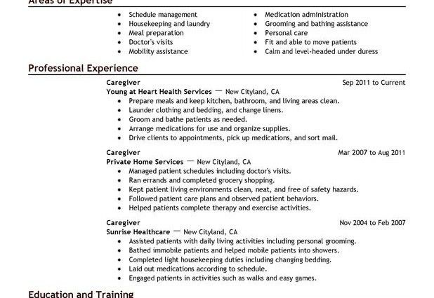 caregiver resume samples visualcv resume samples database ...