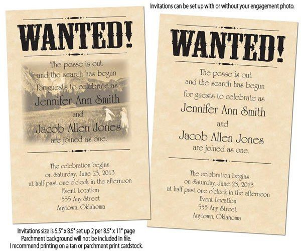 Tara D'Arcy Designs - Wanted Poster Printable Wedding Invitations ...