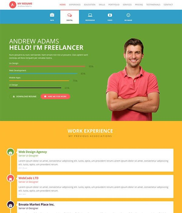 top 15 resume website templates in wordpress. 7 creative resume ...