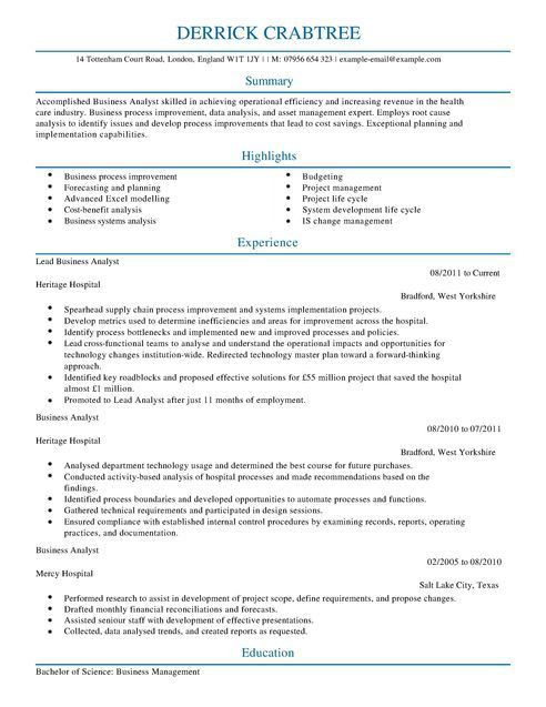 Business Analyst CV Example for Business | LiveCareer