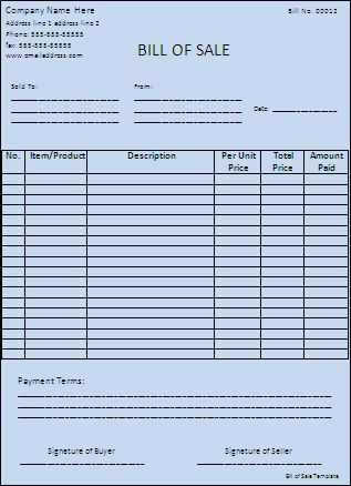 Bill of Sales Template | Free Printable Word Templates,