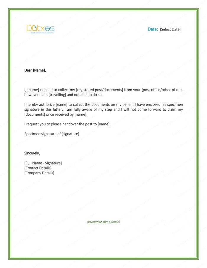 6+ Free Printable Authorization Letter Formats and Samples for Word