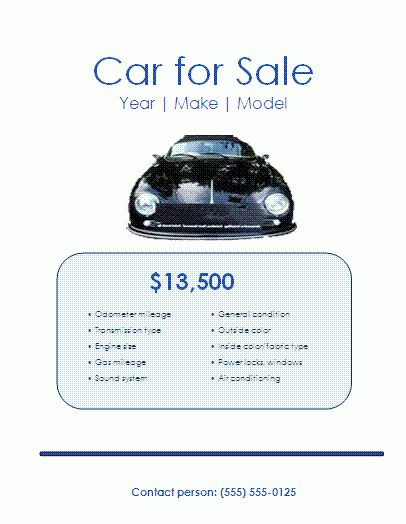 Car Sales Flyer Template | Formsword: Word Templates & Sample Forms