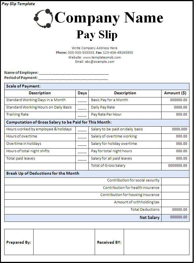Impressive And Detailed Payslip Template For Microsoft Word And ...