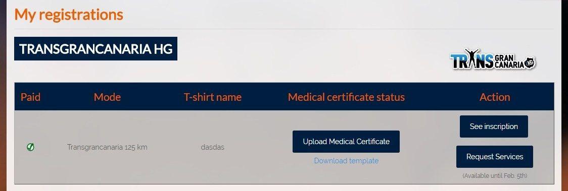 Transgrancanaria HG 2017 medical certificate - Transgrancanaria HG