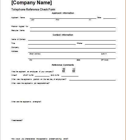 Telephone Reference Check Form Template | Document Hub
