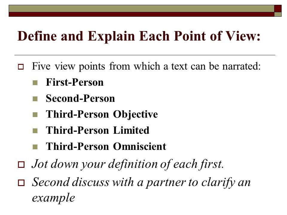 Point of View Practice Narrative Perspective.  The perspective ...