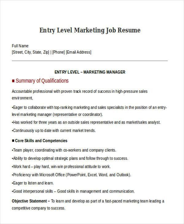 entry level marketing resumes