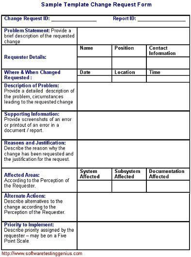 Software Change Request Form and Its Sample Template
