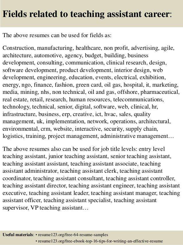 Top 8 teaching assistant resume samples