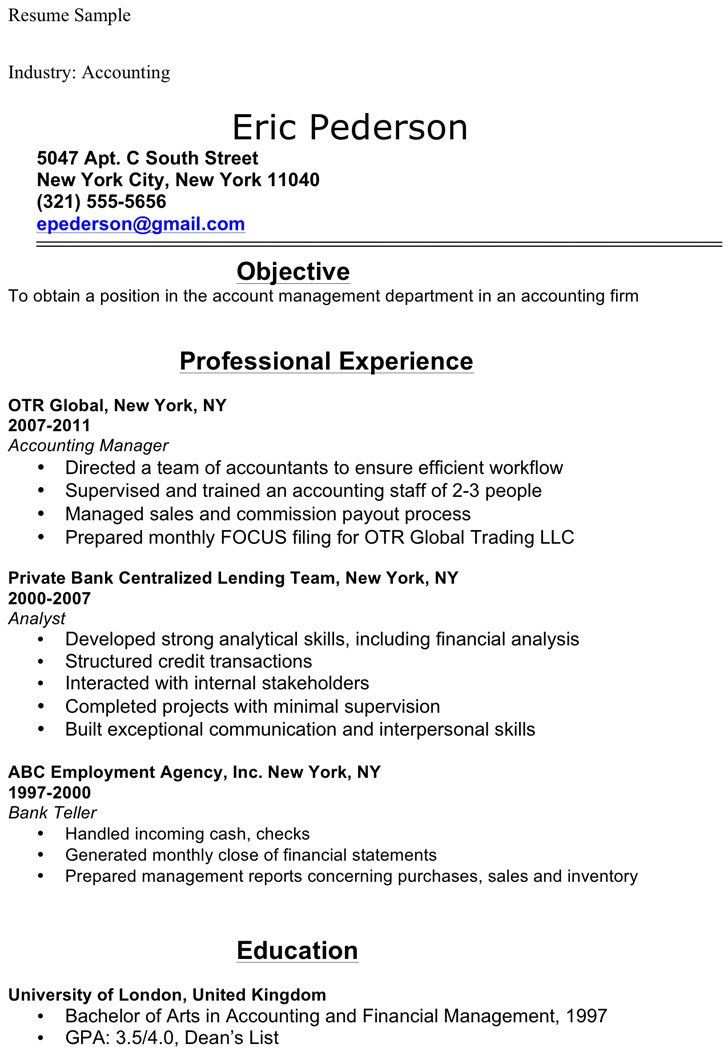 Functional resume accounting student