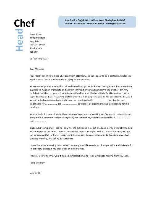 Chef Cover Letter Sample | The Best Letter Sample