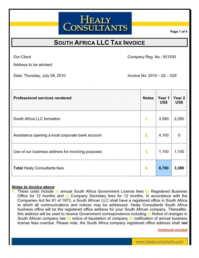 Invoice Template Doc South Africa | Design Invoice Template