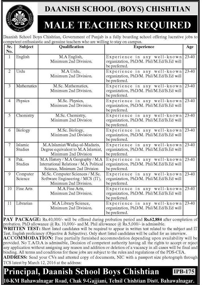 Teacher Jobs 2017 In Punjab Daanish School GOVT Educators ...