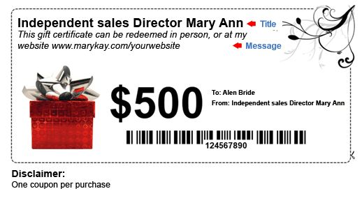 How to make money with Mary Kay® Gift certificates and coupons ...