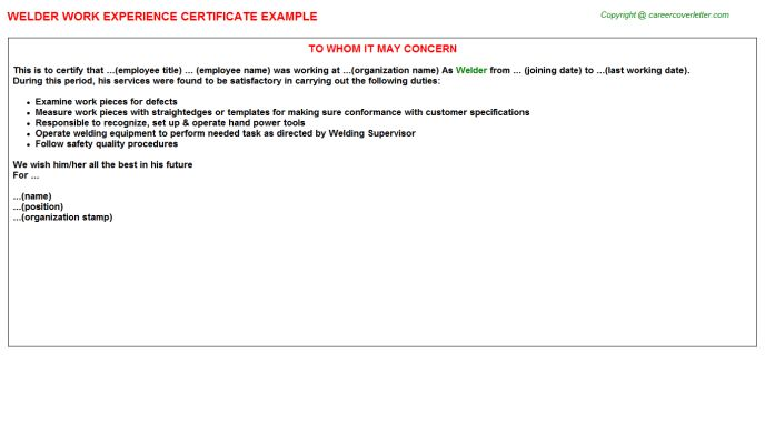 Welder Work Experience Certificate