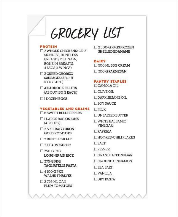 Printable Grocery List Templates - 9+ Free PDF Documents Download ...
