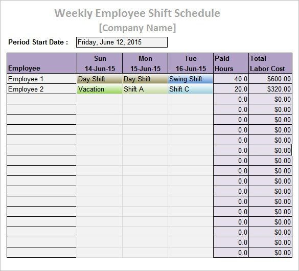 Work Schedule Templates – 9+ Free Word, Excel, PDF Format Download ...