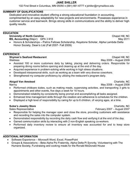 Junior Accounting Resume Sample | Internships.com