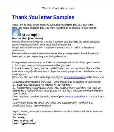 Sample Interview Thank You - 6+ Free Word, PDF Documents Download ...