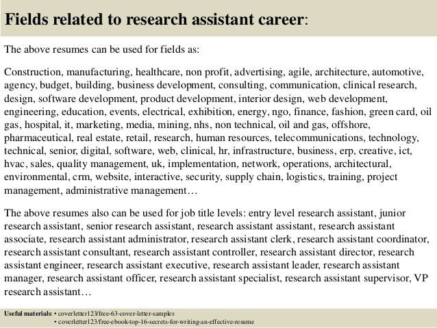sample research assistant cover letter