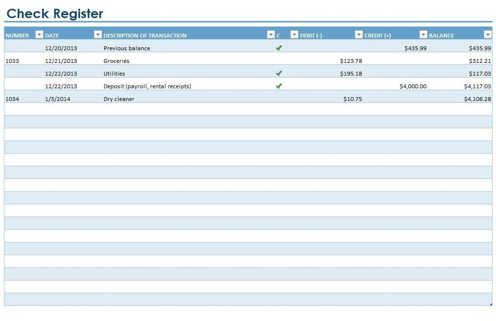 Checkbook Register | Checkbook Register Template