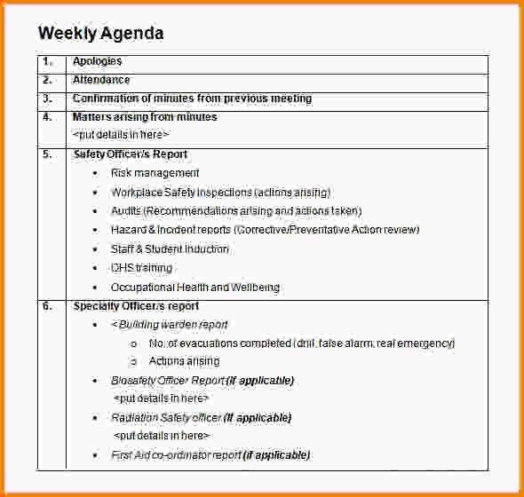 Weekly Agenda Template. 8+ Weekly Agenda Template | Letter ...