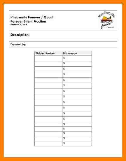 8+ silent auction forms | coaching-resume
