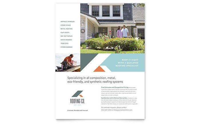 Roofing Company Flyer Template Design