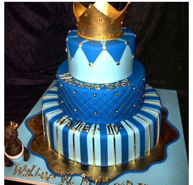 It S A Boy Baby Shower Cake Baby Blue Royal Blue And Gold Bonn