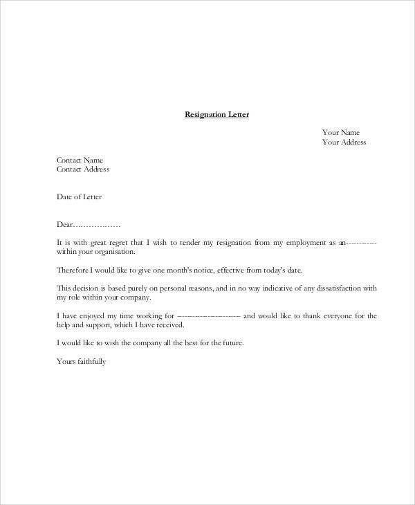 Sample Resignation Letter Format Example. 1000 Ideas About ...